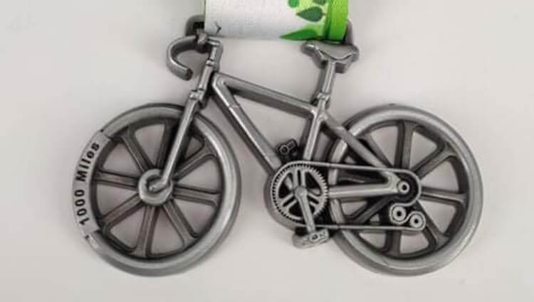 Virtual Challenge Medals, VCM - 1000 Miles Cycling Challenge - online entry by EventEntry