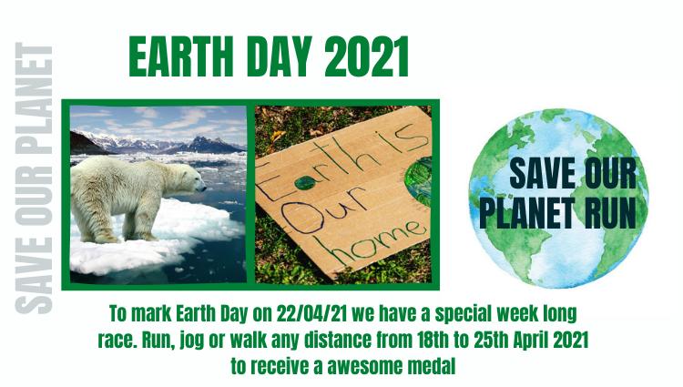 Earth Day 2021 Virtual Run. Online entry via EventEntry