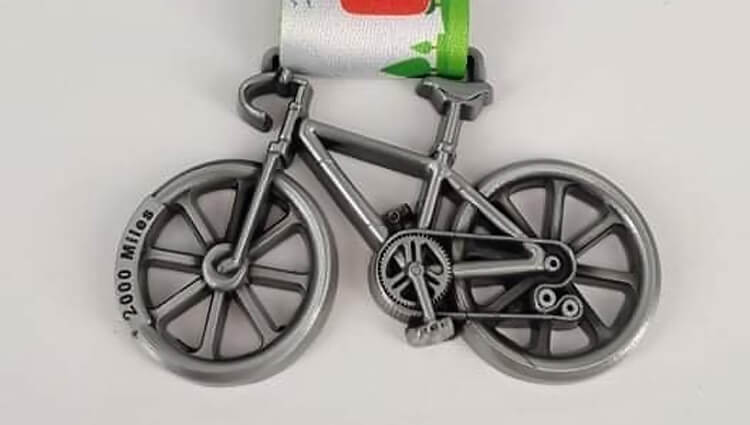 Virtual Challenge Medals, VCM - 2000 Miles Cycling Challenge - online entry by EventEntry